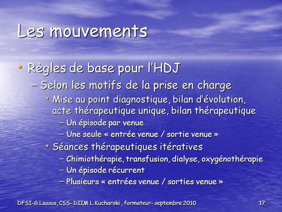 DFSI-G.Lassus, CSS- DIIM L.Kucharski, formateur- septembre 201017 Les mouvements Règles de base pour lHDJ Règles de base pour lHDJ – Selon les motifs