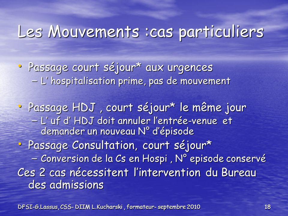 DFSI-G.Lassus, CSS- DIIM L.Kucharski, formateur- septembre 201018 Les Mouvements :cas particuliers Passage court séjour* aux urgences Passage court sé