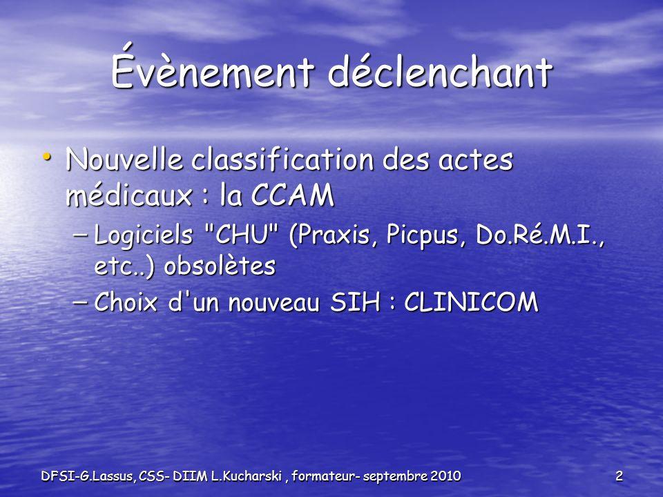 DFSI-G.Lassus, CSS- DIIM L.Kucharski, formateur- septembre 20102 Évènement déclenchant Nouvelle classification des actes médicaux : la CCAM Nouvelle c
