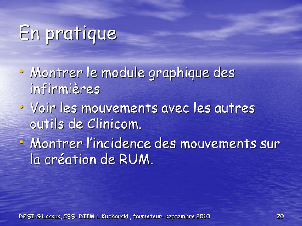 DFSI-G.Lassus, CSS- DIIM L.Kucharski, formateur- septembre 201020 En pratique Montrer le module graphique des infirmières Montrer le module graphique