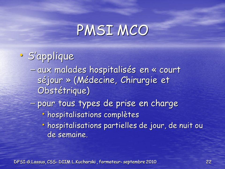 DFSI-G.Lassus, CSS- DIIM L.Kucharski, formateur- septembre 201022 PMSI MCO Sapplique Sapplique – aux malades hospitalisés en « court séjour » (Médecin