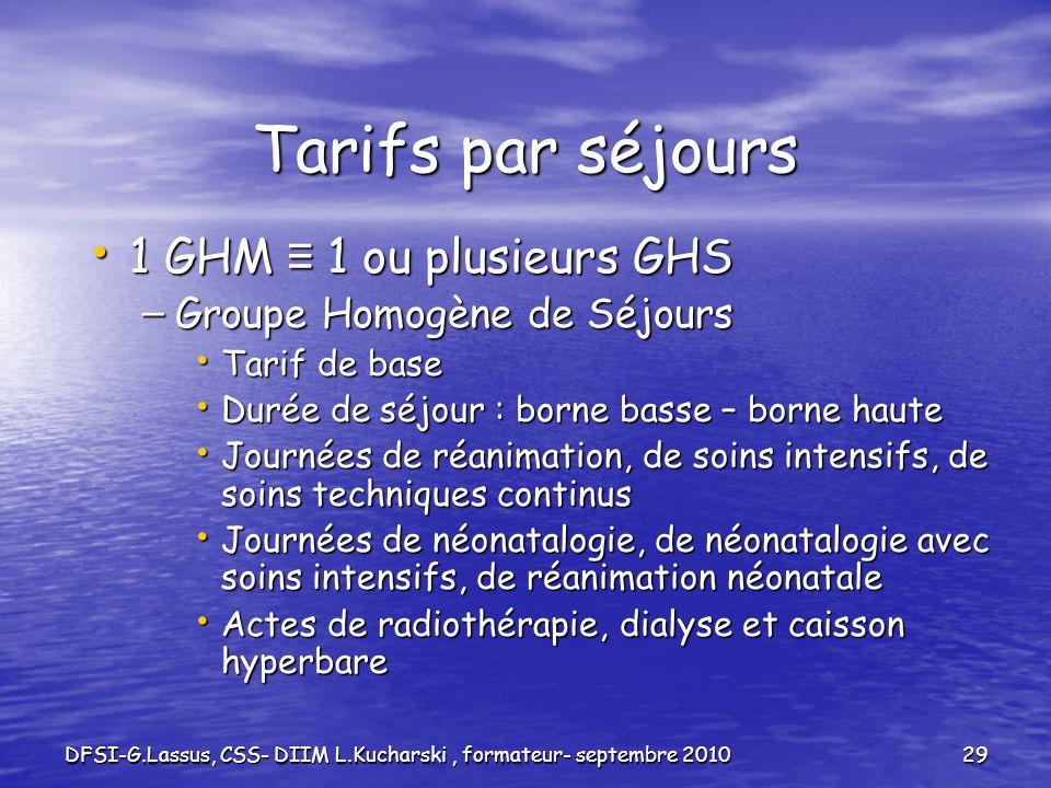 DFSI-G.Lassus, CSS- DIIM L.Kucharski, formateur- septembre 201029 Tarifs par séjours 1 GHM 1 ou plusieurs GHS 1 GHM 1 ou plusieurs GHS – Groupe Homogè