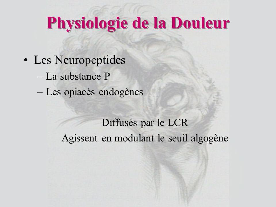 Physiologie de la Douleur Les Neuropeptides –La substance P –Les opiacés endogènes Diffusés par le LCR Agissent en modulant le seuil algogène