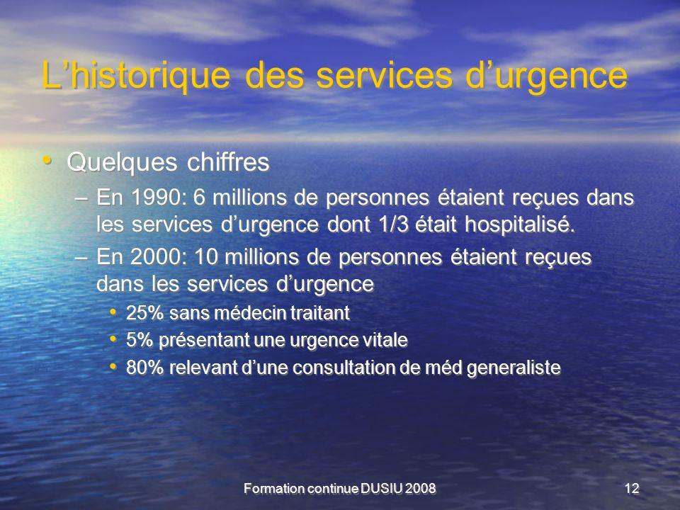 Formation continue DUSIU 200812 Lhistorique des services durgence Quelques chiffres –En 1990: 6 millions de personnes étaient reçues dans les services