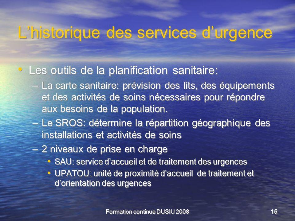 Formation continue DUSIU 200815 Lhistorique des services durgence Les outils de la planification sanitaire: –La carte sanitaire: prévision des lits, d
