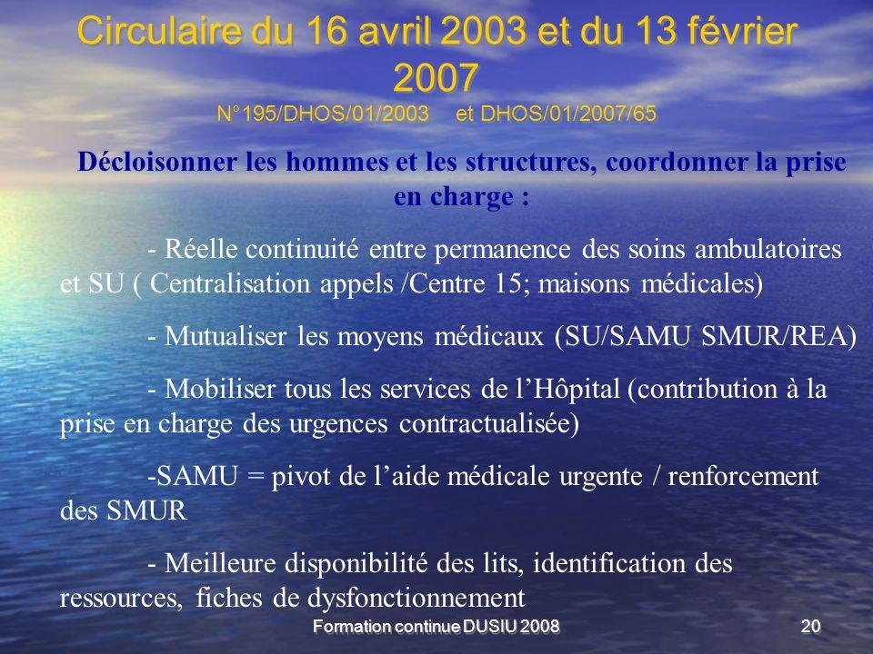 Formation continue DUSIU 200820 Circulaire du 16 avril 2003 et du 13 février 2007 N°195/DHOS/01/2003 et DHOS/01/2007/65 Décloisonner les hommes et les