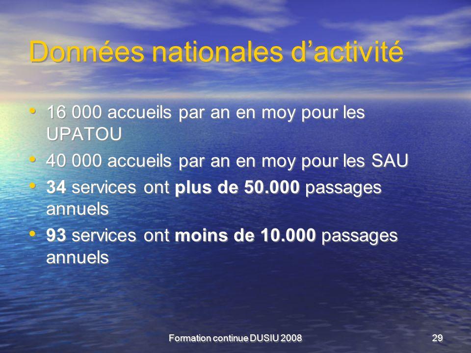 Formation continue DUSIU 200829 Données nationales dactivité 16 000 accueils par an en moy pour les UPATOU 40 000 accueils par an en moy pour les SAU