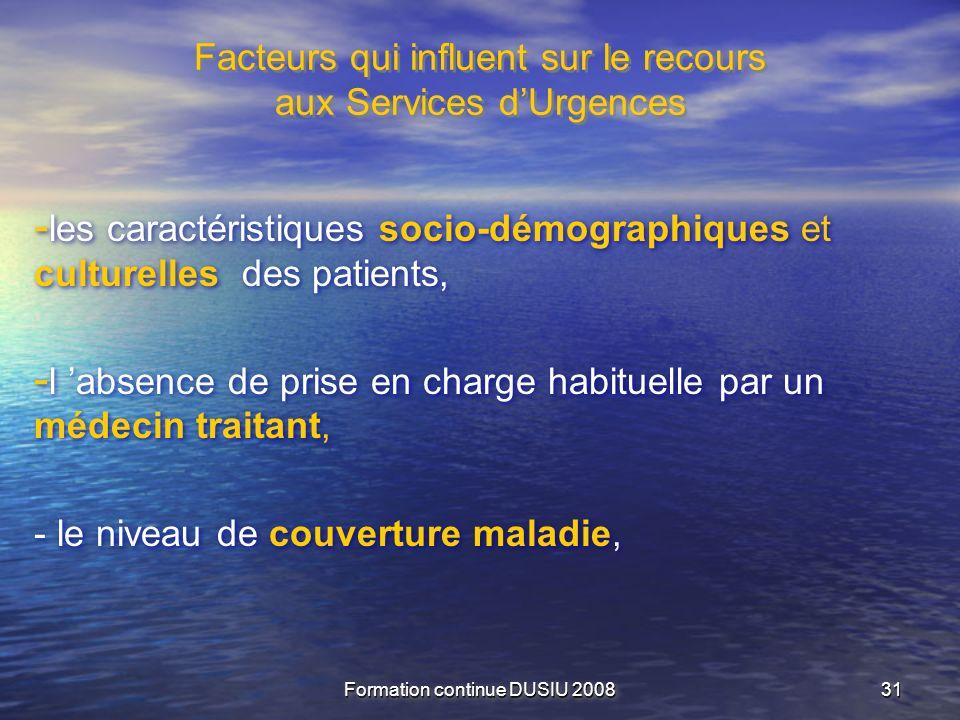 Formation continue DUSIU 2008 3131 Facteurs qui influent sur le recours aux Services dUrgences - les caractéristiques socio-démographiques et culturel