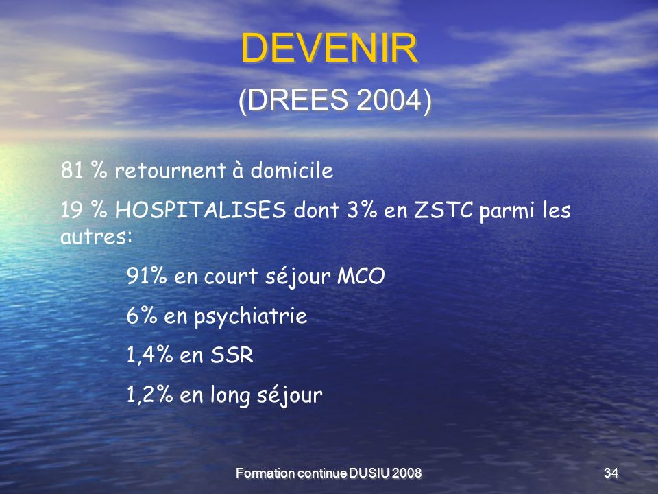 Formation continue DUSIU 200834 DEVENIR (DREES 2004) 81 % retournent à domicile 19 % HOSPITALISES dont 3% en ZSTC parmi les autres: 91% en court séjou