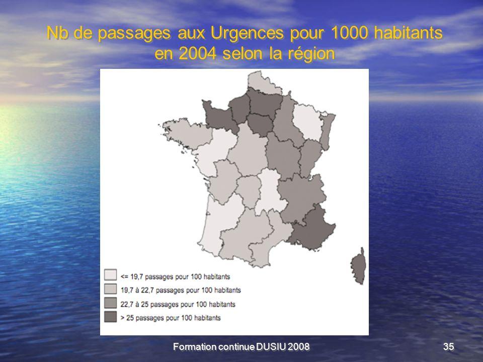 Formation continue DUSIU 200835 Nb de passages aux Urgences pour 1000 habitants en 2004 selon la région