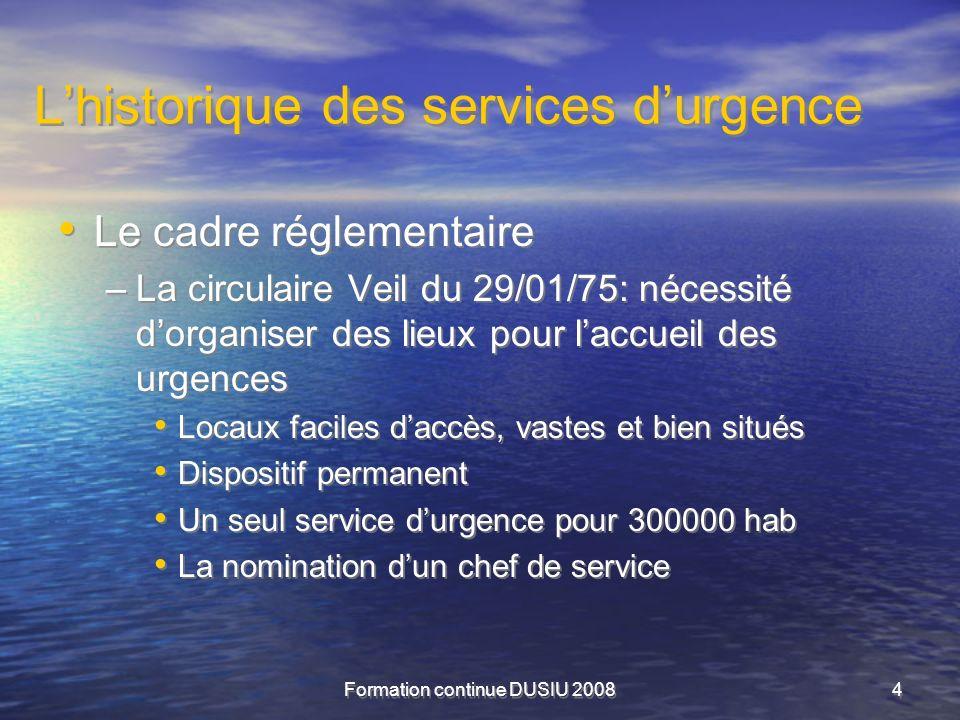 Formation continue DUSIU 20084 Lhistorique des services durgence Le cadre réglementaire –La circulaire Veil du 29/01/75: nécessité dorganiser des lieu