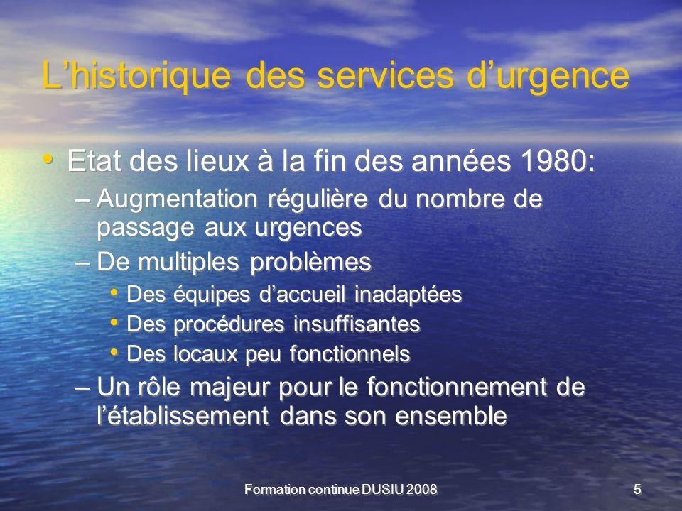 Formation continue DUSIU 20085 Lhistorique des services durgence Etat des lieux à la fin des années 1980: –Augmentation régulière du nombre de passage