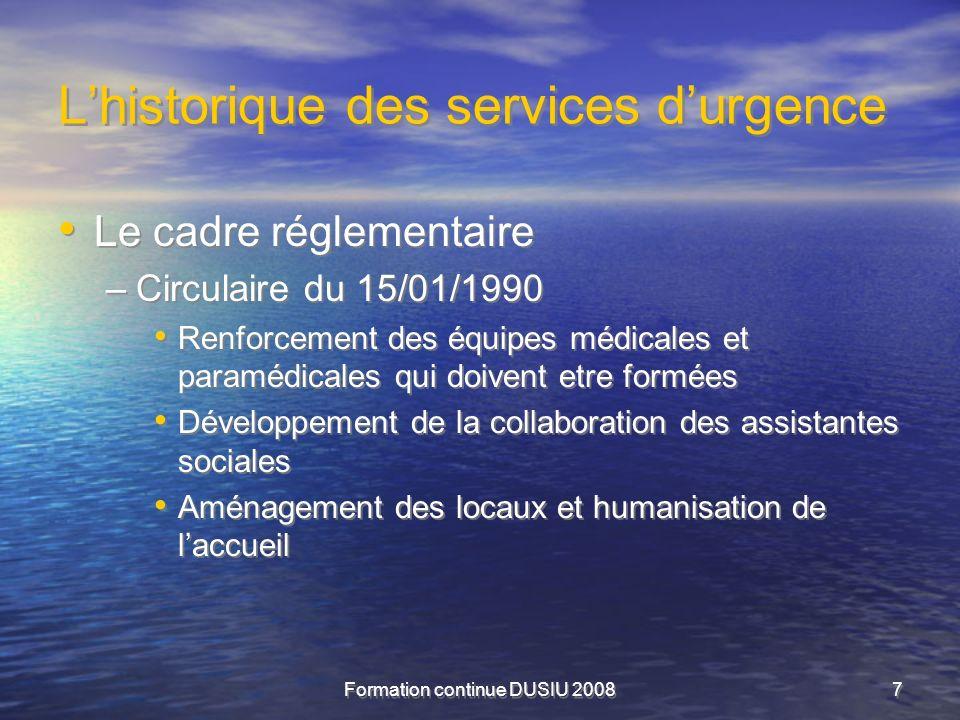 Formation continue DUSIU 20087 Lhistorique des services durgence Le cadre réglementaire –Circulaire du 15/01/1990 Renforcement des équipes médicales e