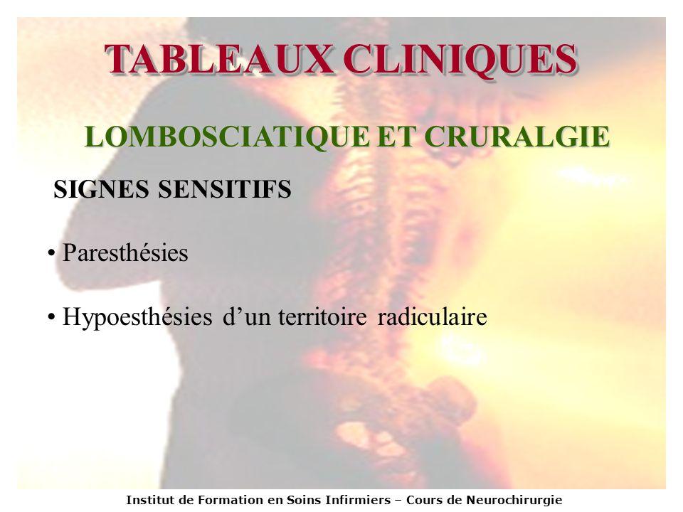 Institut de Formation en Soins Infirmiers – Cours de Neurochirurgie TABLEAUX CLINIQUES LOMBOSCIATIQUE ET CRURALGIE SIGNES SENSITIFS Paresthésies Hypoe