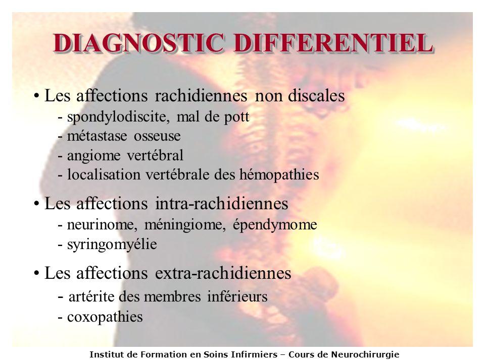 Institut de Formation en Soins Infirmiers – Cours de Neurochirurgie DIAGNOSTIC DIFFERENTIEL Les affections rachidiennes non discales - spondylodiscite