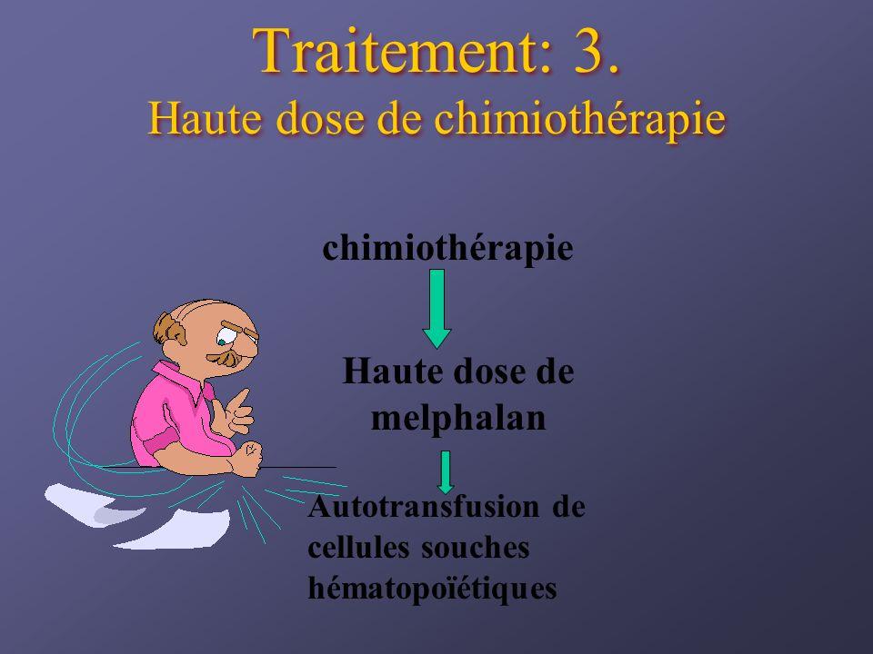 Traitement: 3. Haute dose de chimiothérapie chimiothérapie Haute dose de melphalan Autotransfusion de cellules souches hématopoïétiques