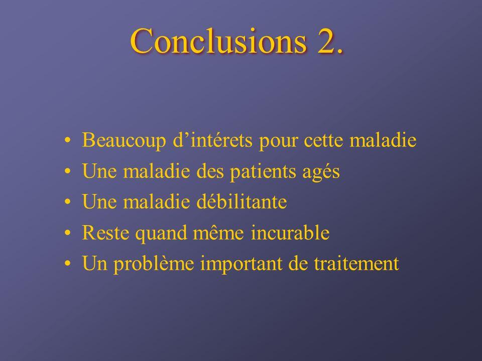 Conclusions 2. Beaucoup dintérets pour cette maladie Une maladie des patients agés Une maladie débilitante Reste quand même incurable Un problème impo