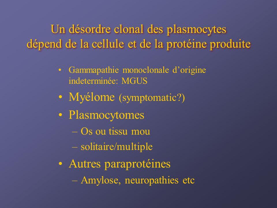 investigations Anémie Peu fréquents: plasmocytose, leucopénie, thrombocytopenie Rouleaux GR Beta 2 microglobuline Viscosité sérique LDH
