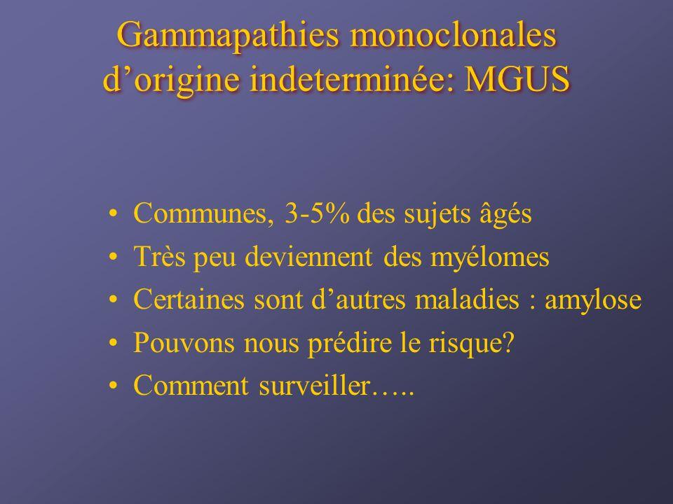 Gammapathies monoclonales dorigine indeterminée: MGUS Communes, 3-5% des sujets âgés Très peu deviennent des myélomes Certaines sont dautres maladies