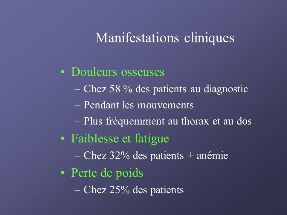 Manifestations cliniques Douleurs osseuses –Chez 58 % des patients au diagnostic –Pendant les mouvements –Plus fréquemment au thorax et au dos Faibles