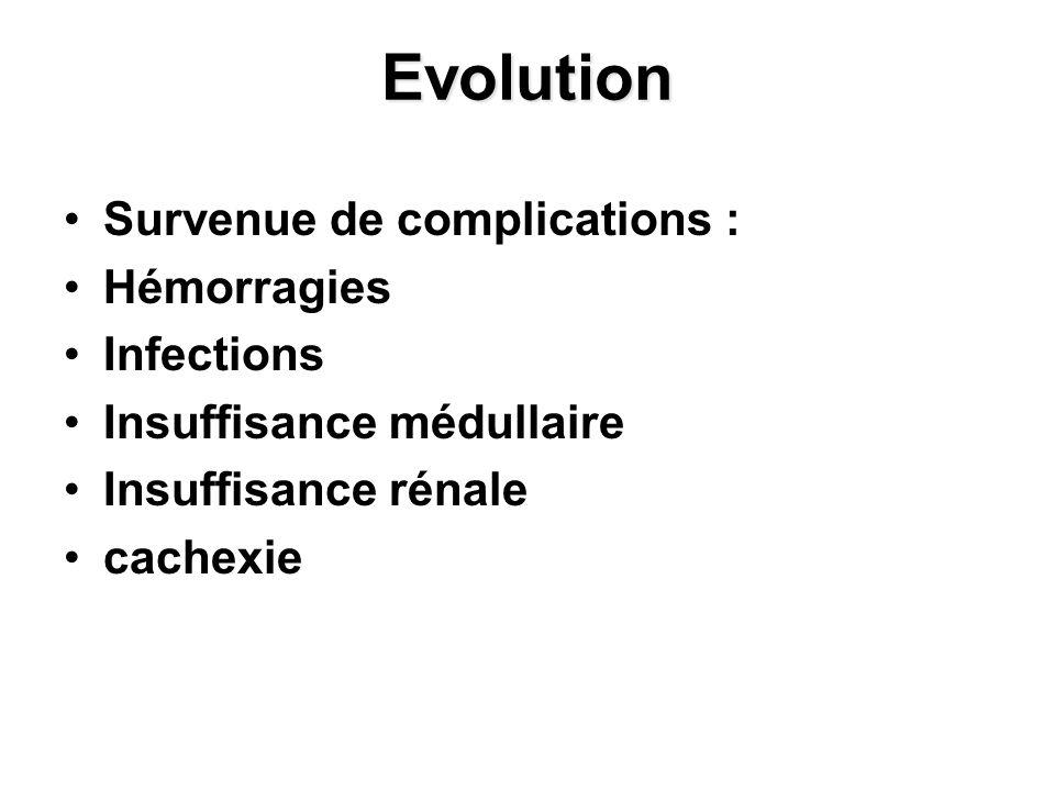 Evolution Survenue de complications : Hémorragies Infections Insuffisance médullaire Insuffisance rénale cachexie