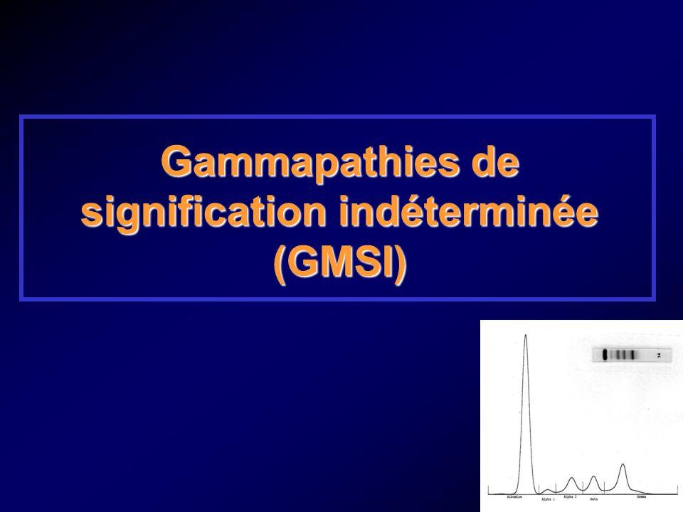 Nosologie des gammapathies monoclonales Absence darguments cliniques ou biologiques pour : Myélome Maladie de Waldenström Amylose Autre hémopathie Taux du composant monoclonal inférieur à 30 g/l Protéinurie de Bence-Jones négative ou inférieure à 1 g/24 h Calcémie, créatininémie, hémogramme normaux +/- Plasmocytose médullaire inférieure à 10 % +/- Absence de lésions osseuses