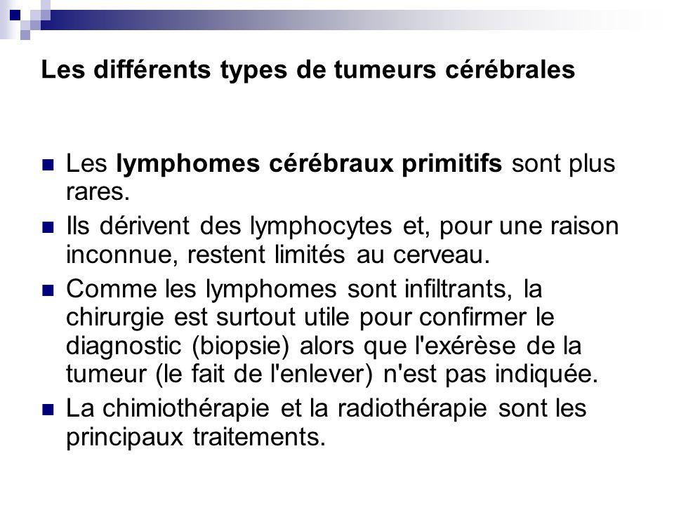 Les différents types de tumeurs cérébrales Les lymphomes cérébraux primitifs sont plus rares. Ils dérivent des lymphocytes et, pour une raison inconnu