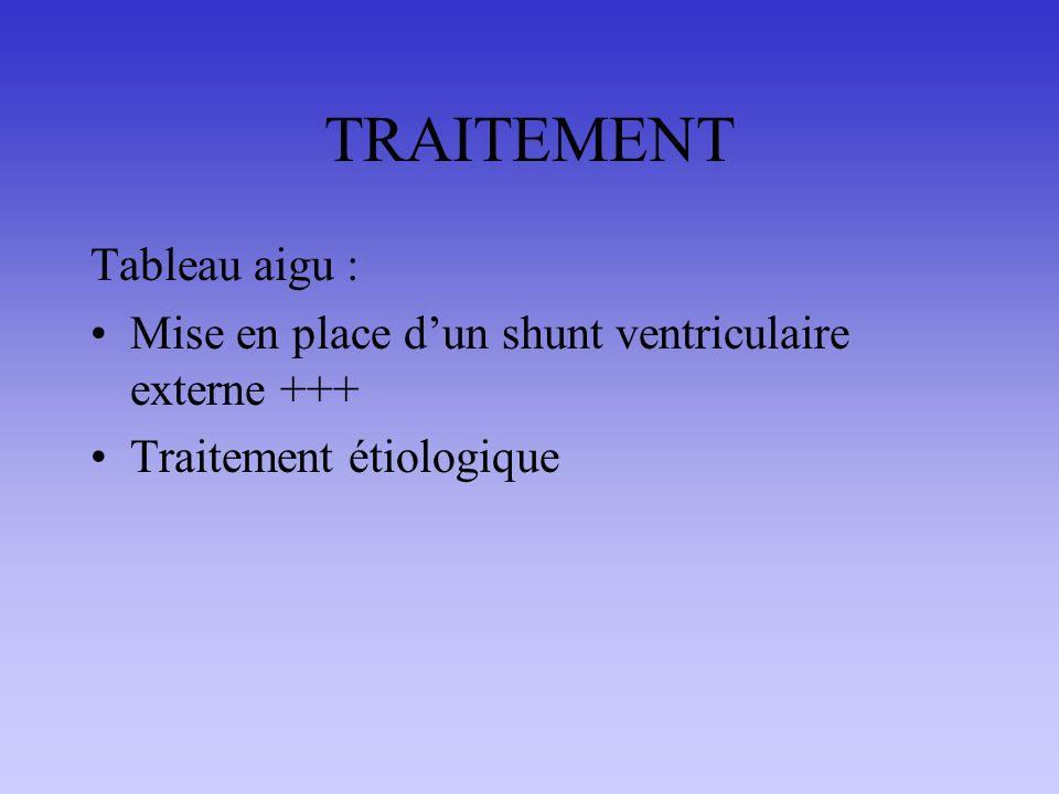 TRAITEMENT Tableau aigu : Mise en place dun shunt ventriculaire externe +++ Traitement étiologique