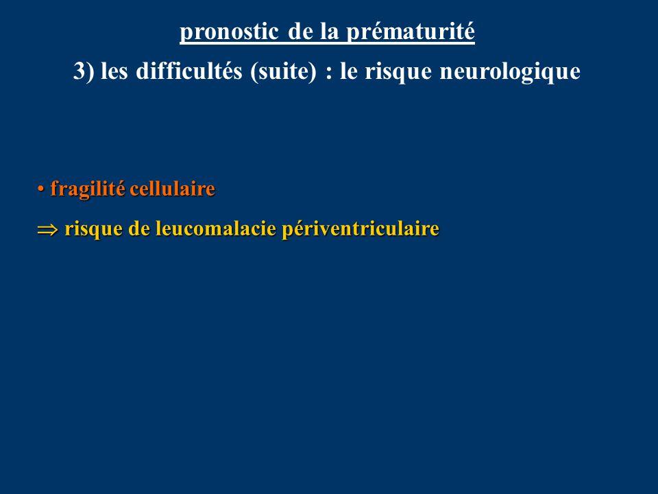 pronostic de la prématurité 3) les difficultés (suite) : le risque neurologique fragilité cellulaire fragilité cellulaire risque de leucomalacie périv