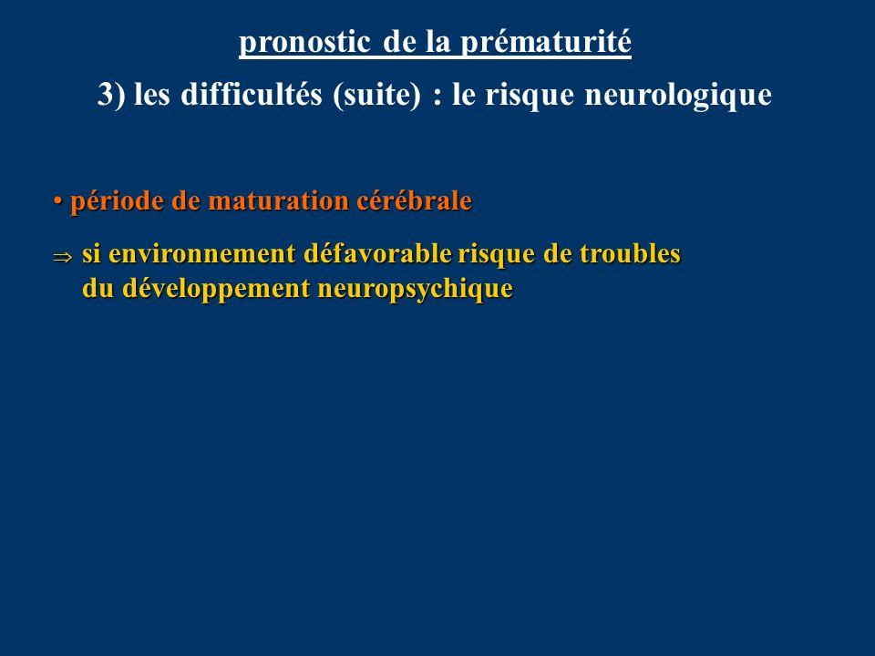 pronostic de la prématurité 3) les difficultés (suite) : le risque neurologique période de maturation cérébrale période de maturation cérébrale si env