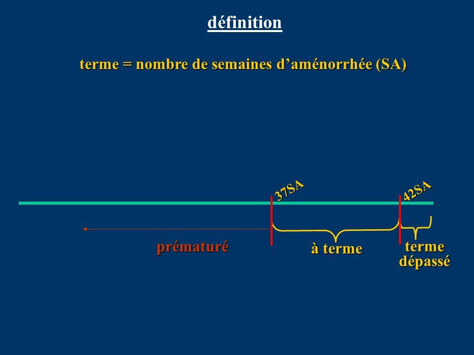 terme = nombre de semaines daménorrhée (SA) définition 37SA 42SA à terme prématuré termedépassé