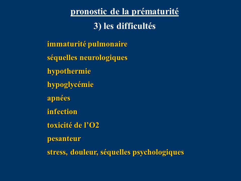 pronostic de la prématurité 3) les difficultés immaturité pulmonaire séquelles neurologiques hypothermiehypoglycémieapnéesinfection toxicité de lO2 pe
