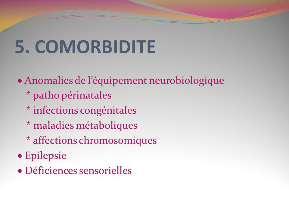 5. COMORBIDITE Anomalies de léquipement neurobiologique * patho périnatales * infections congénitales * maladies métaboliques * affections chromosomiq