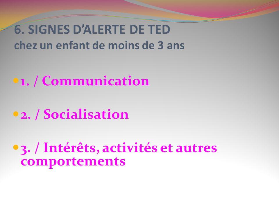 6. SIGNES DALERTE DE TED chez un enfant de moins de 3 ans 1. / Communication 2. / Socialisation 3. / Intérêts, activités et autres comportements