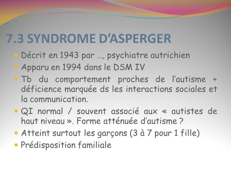 7.3 SYNDROME DASPERGER Décrit en 1943 par …, psychiatre autrichien Apparu en 1994 dans le DSM IV Tb du comportement proches de lautisme + déficience m