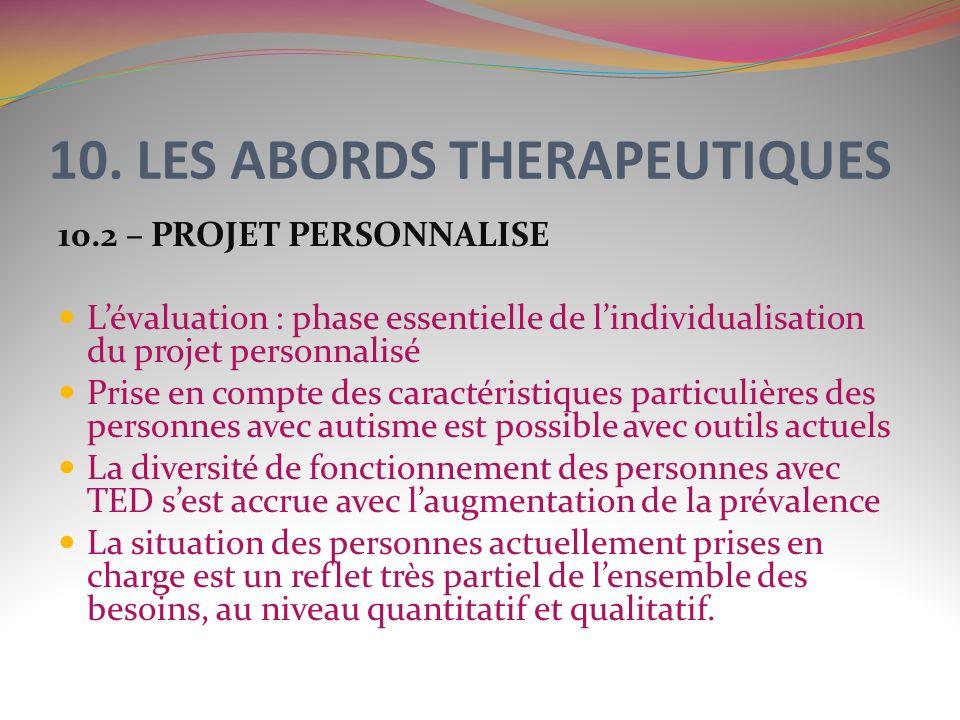 10. LES ABORDS THERAPEUTIQUES 10.2 – PROJET PERSONNALISE Lévaluation : phase essentielle de lindividualisation du projet personnalisé Prise en compte