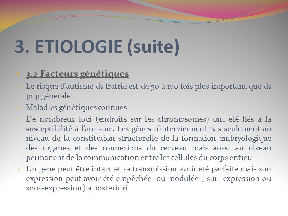 3. ETIOLOGIE (suite) 3.2 Facteurs génétiques - Le risque dautisme ds fratrie est de 50 à 100 fois plus important que ds pop générale - Maladies généti