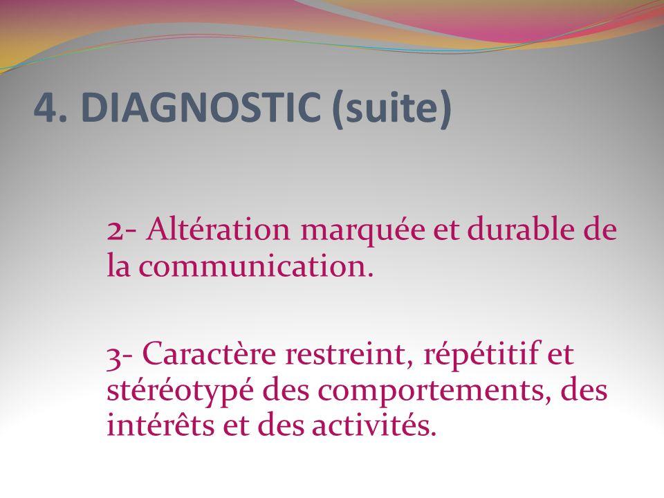 4. DIAGNOSTIC (suite) 2- Altération marquée et durable de la communication. 3- Caractère restreint, répétitif et stéréotypé des comportements, des int