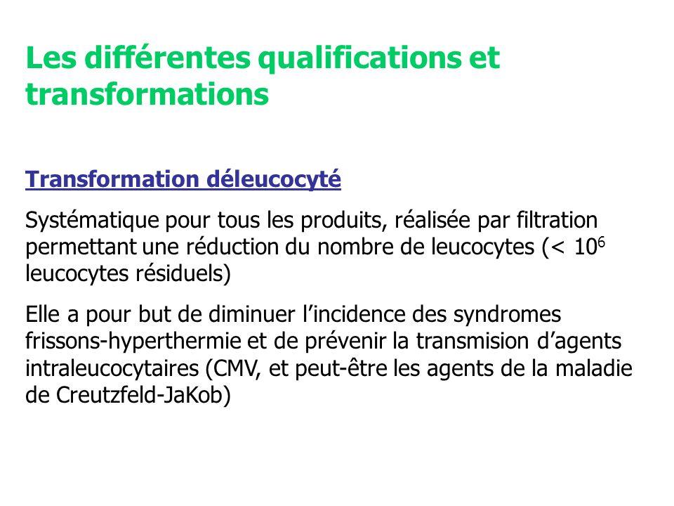 Les différentes qualifications et transformations Transformation déleucocyté Systématique pour tous les produits, réalisée par filtration permettant u