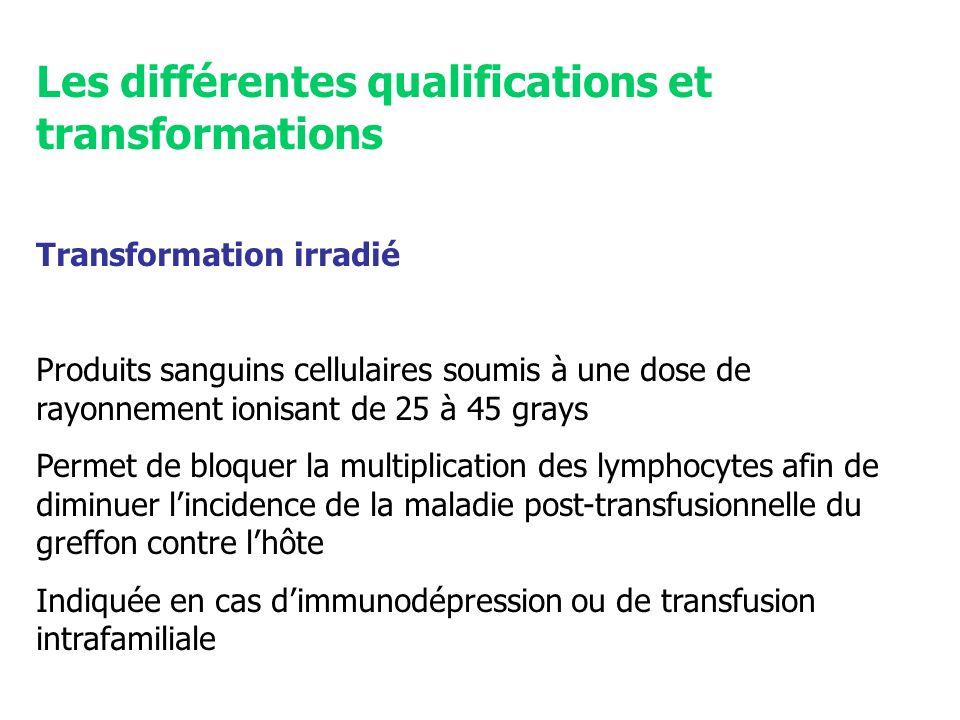 Les différentes qualifications et transformations Transformation irradié Produits sanguins cellulaires soumis à une dose de rayonnement ionisant de 25