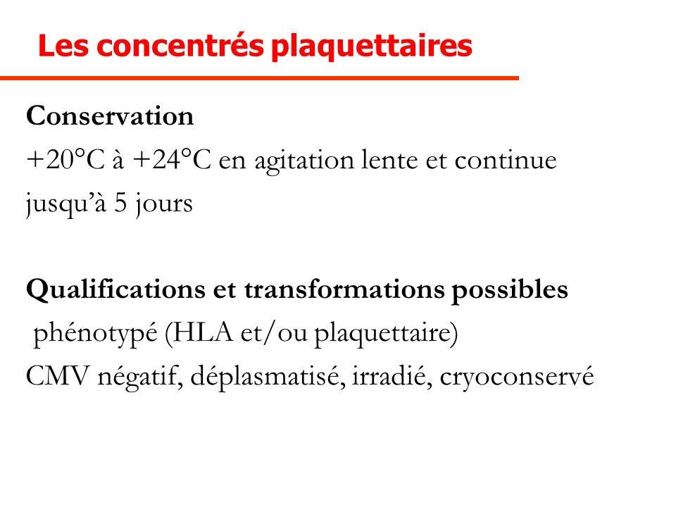Les concentrés plaquettaires Conservation +20°C à +24°C en agitation lente et continue jusquà 5 jours Qualifications et transformations possibles phén