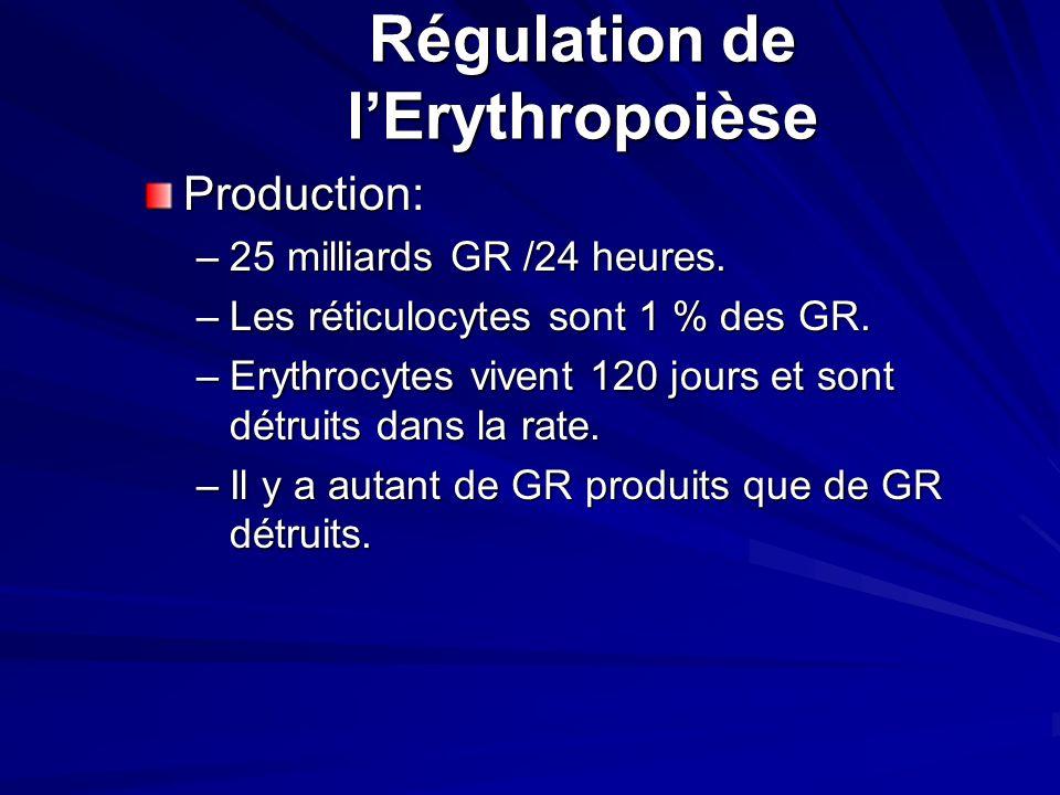 Facteurs nécessaires pour lérythropoièse 1. Erythropoiétine 2. Fer 3. Vitamine B 12 (cyanocobalamine) 4. Acide folique (folate) 5. Acide ascorbique (V