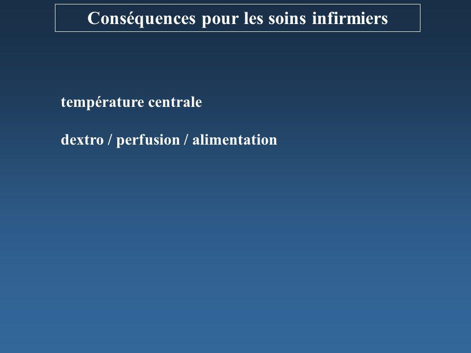 température centrale dextro / perfusion / alimentation Conséquences pour les soins infirmiers