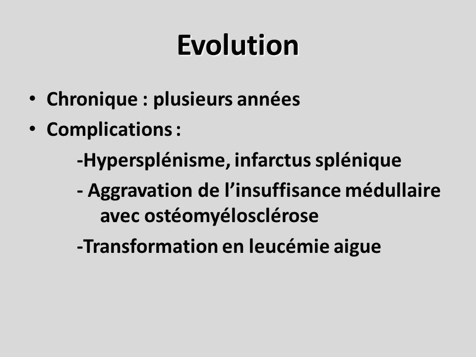 Evolution Chronique : plusieurs années Complications : -Hypersplénisme, infarctus splénique - Aggravation de linsuffisance médullaire avec ostéomyélos