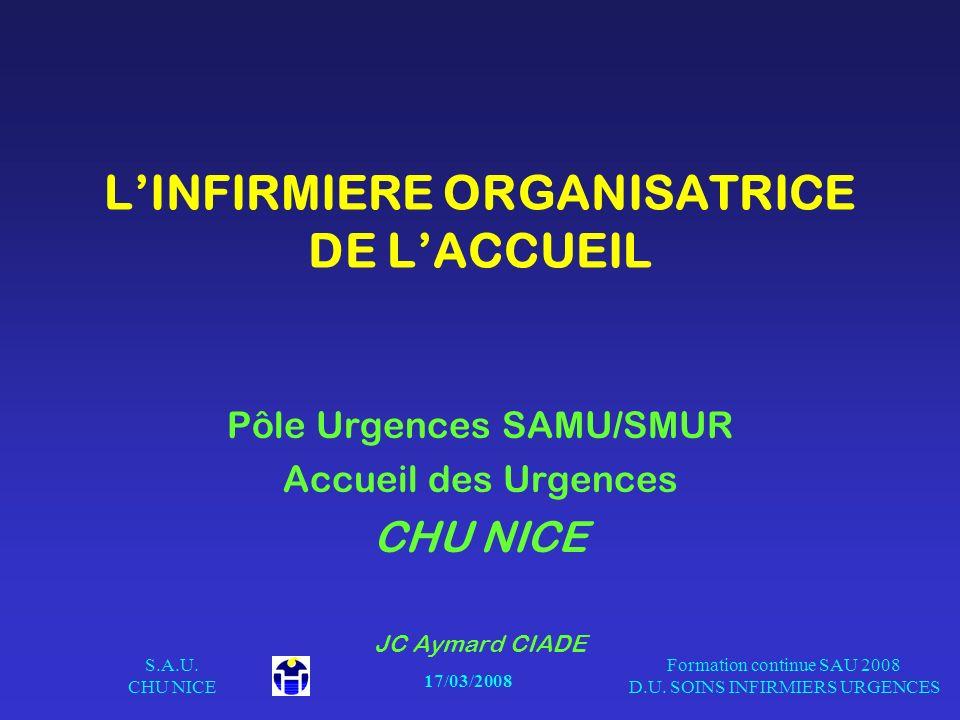 17/03/2008 S.A.U. CHU NICE Formation continue SAU 2008 D.U. SOINS INFIRMIERS URGENCES LINFIRMIERE ORGANISATRICE DE LACCUEIL Pôle Urgences SAMU/SMUR Ac