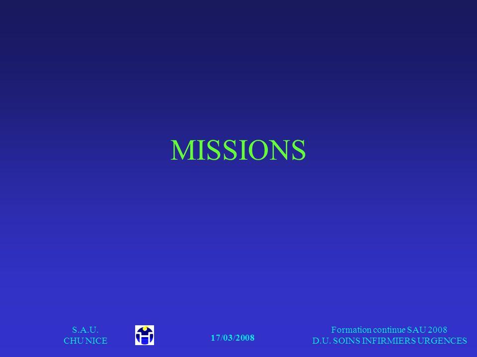 17/03/2008 S.A.U. CHU NICE Formation continue SAU 2008 D.U. SOINS INFIRMIERS URGENCES MISSIONS