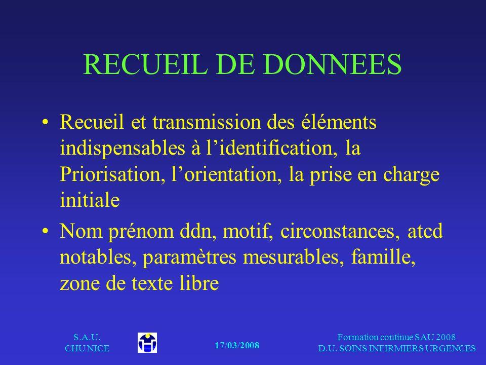 17/03/2008 S.A.U. CHU NICE Formation continue SAU 2008 D.U. SOINS INFIRMIERS URGENCES RECUEIL DE DONNEES Recueil et transmission des éléments indispen