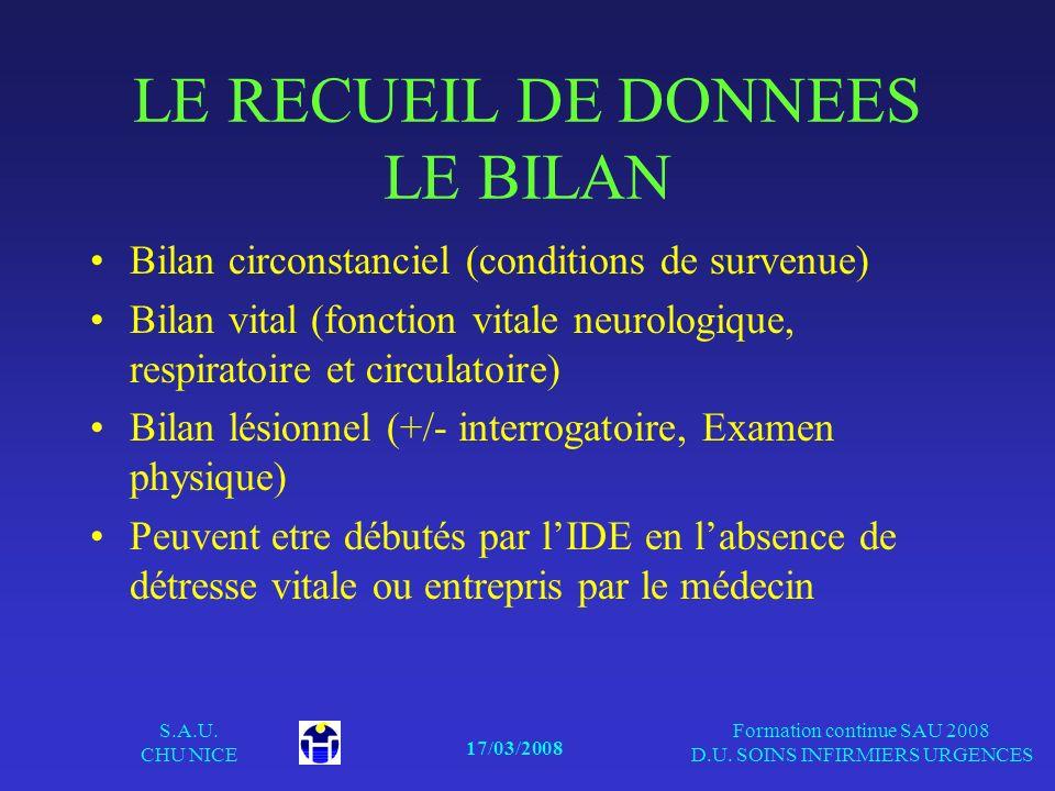 17/03/2008 S.A.U. CHU NICE Formation continue SAU 2008 D.U. SOINS INFIRMIERS URGENCES LE RECUEIL DE DONNEES LE BILAN Bilan circonstanciel (conditions