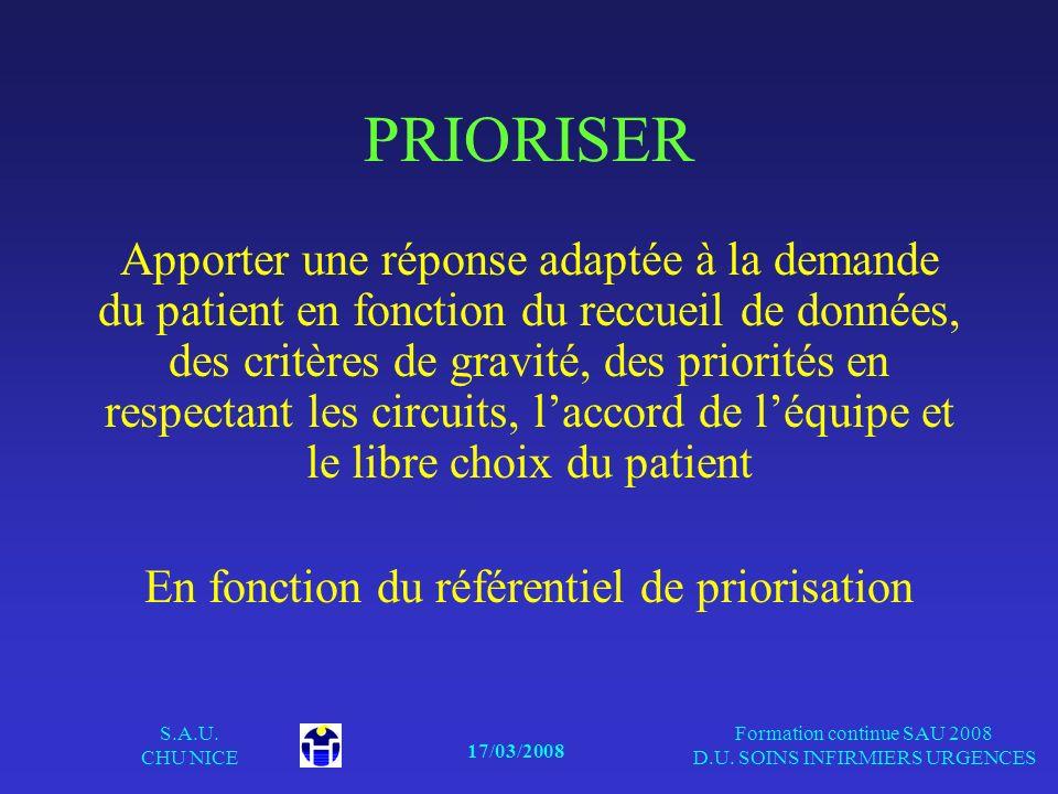 17/03/2008 S.A.U. CHU NICE Formation continue SAU 2008 D.U. SOINS INFIRMIERS URGENCES PRIORISER Apporter une réponse adaptée à la demande du patient e