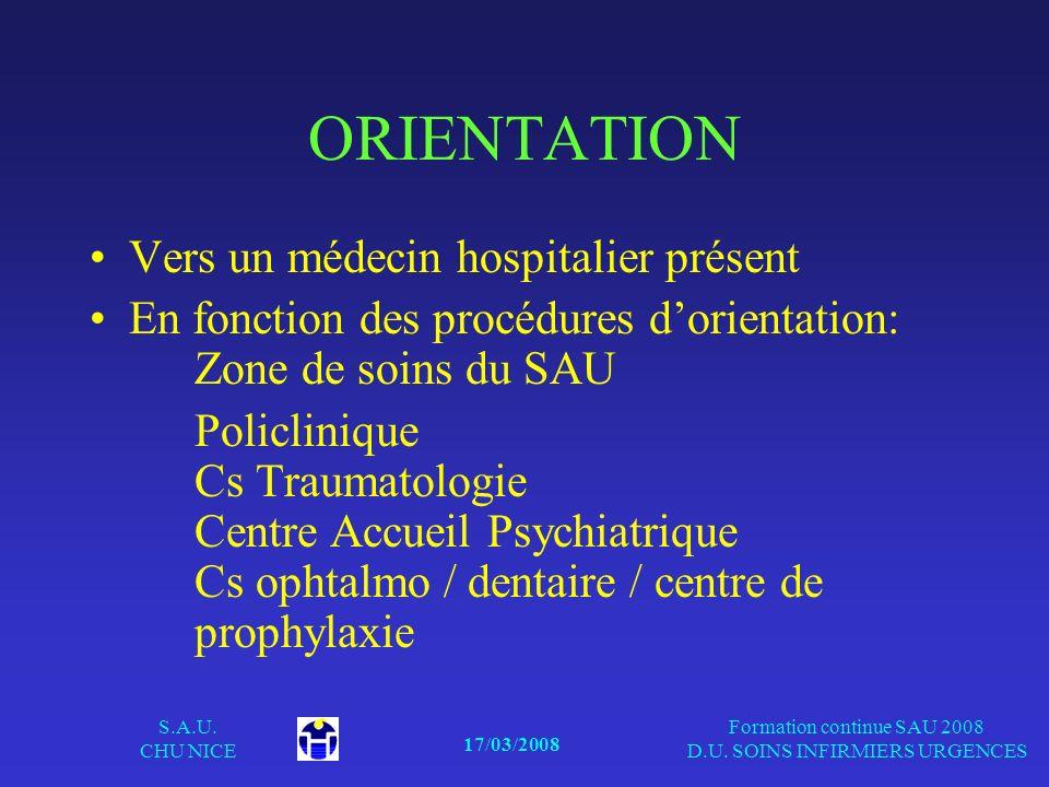 17/03/2008 S.A.U. CHU NICE Formation continue SAU 2008 D.U. SOINS INFIRMIERS URGENCES ORIENTATION Vers un médecin hospitalier présent En fonction des